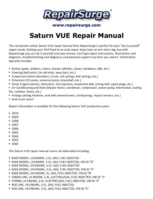 saturn vue repair manual 2002 2010 rh slideshare net 2006 saturn vue manual book 2006 saturn vue manual transmission