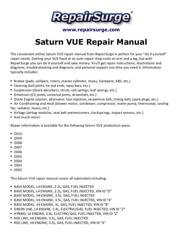 saturn vue repair manual 2002 2010 rh slideshare net 2003 Saturn Vue Parts Diagram 2003 Saturn Vue Repair Manual