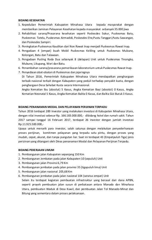 BIDANG PENGAWASAN Melaksanakan Tindak Lanjut Hasil Temuan BPK Perwakilan Sulawesi Utara Tahun 2015-2016 dimana terdapat 70...