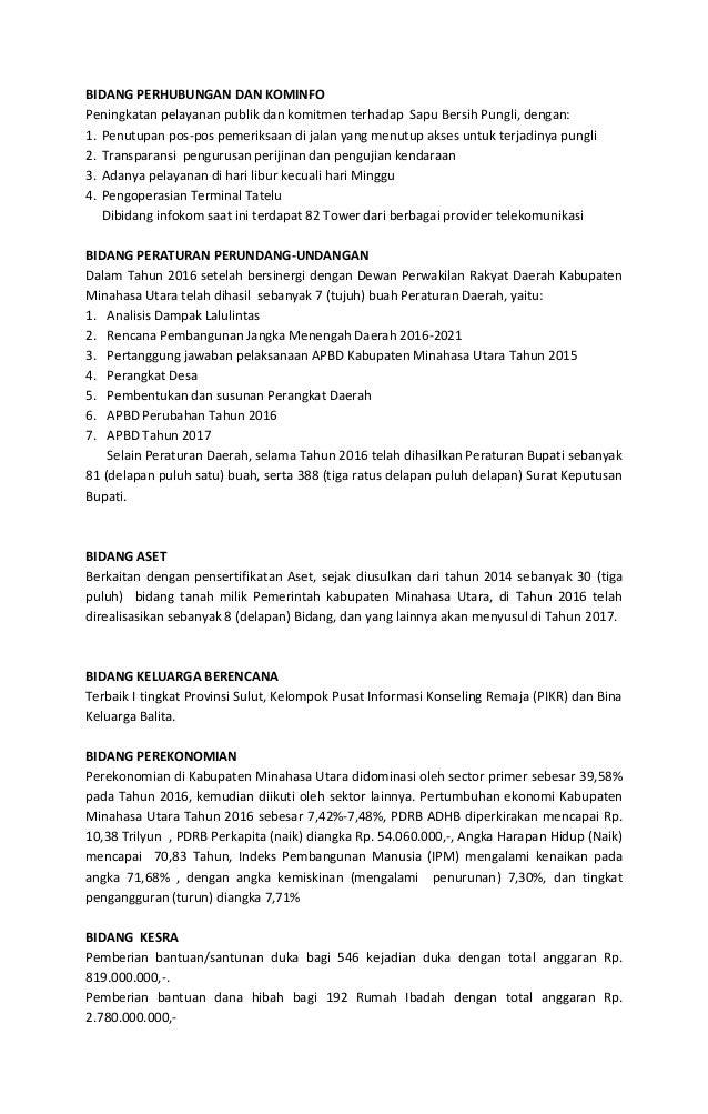 Satuh Tahun kepemimpinan bupati dan wakil bupati kabupaten minahasa utara Periode tahun 2016-2021