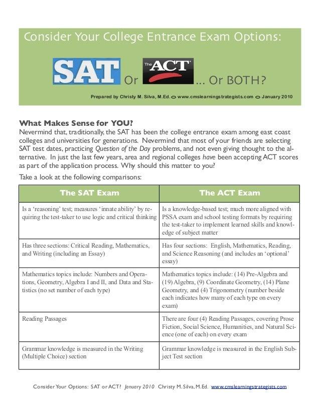 Sat Versus Act Comparison Chart