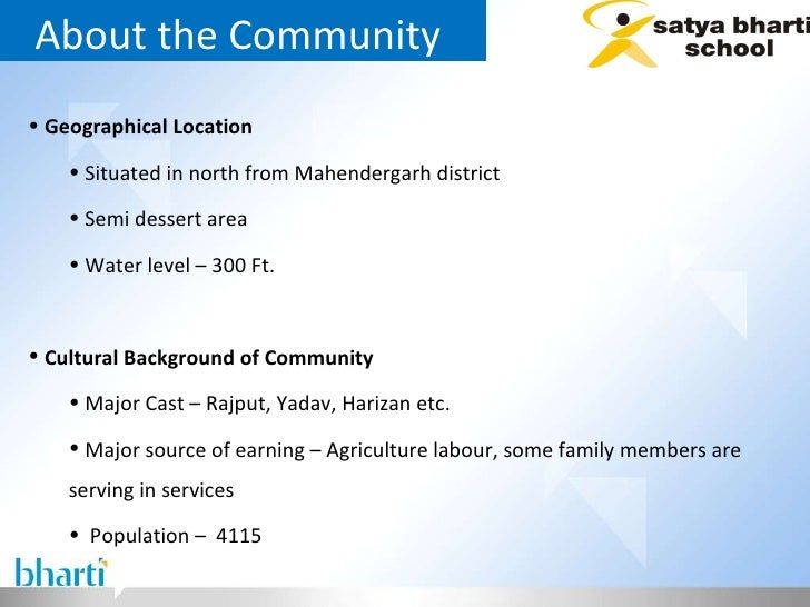 About the Community  <ul><li>Geographical Location  </li></ul><ul><ul><li>Situated in north from Mahendergarh district  </...