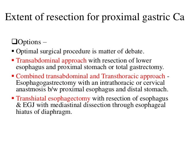 Extent of resection for proximal gastric Ca Options –  Optimal surgical procedure is matter of debate.  Transabdominal ...