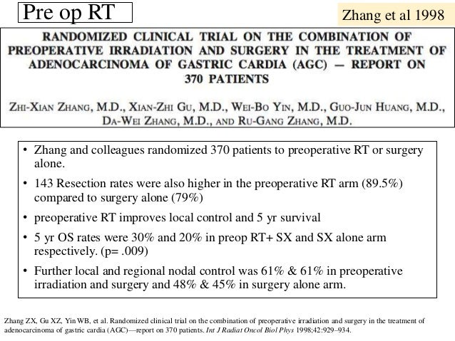 • Zhang and colleagues randomized 370 patients to preoperative RT or surgery alone. • 143 Resection rates were also higher...