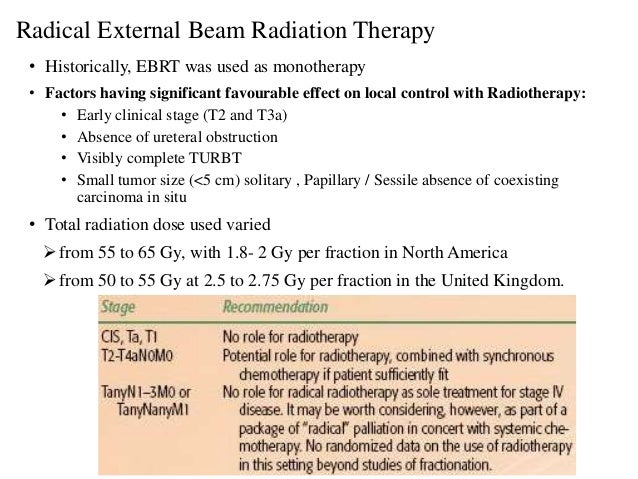Radical External Beam Radiation Therapy • Historically, EBRT was used as monotherapy • Factors having significant favourab...