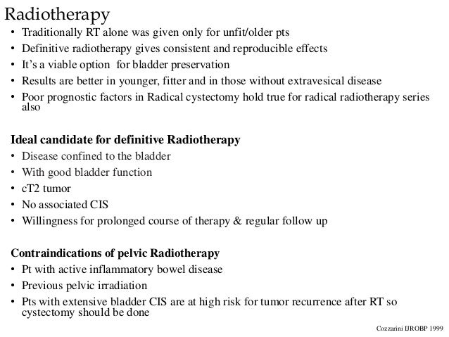 Radiotherapy • Traditionally RT alone was given only for unfit/older pts • Definitive radiotherapy gives consistent and re...