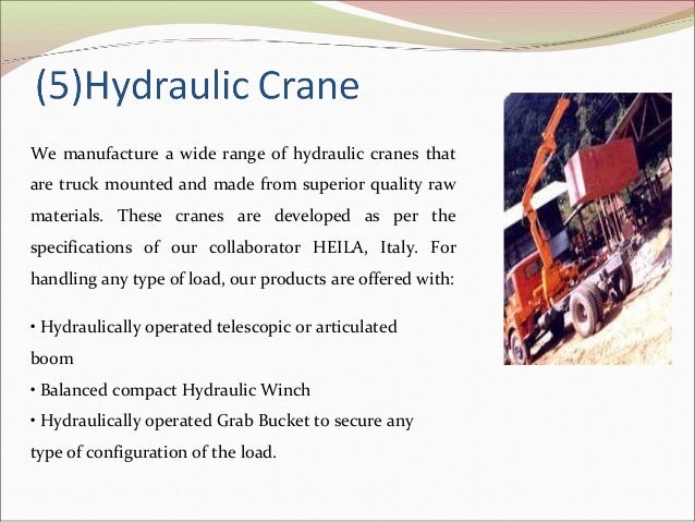 Principle Of Hydraulic Crane Project : Jcb