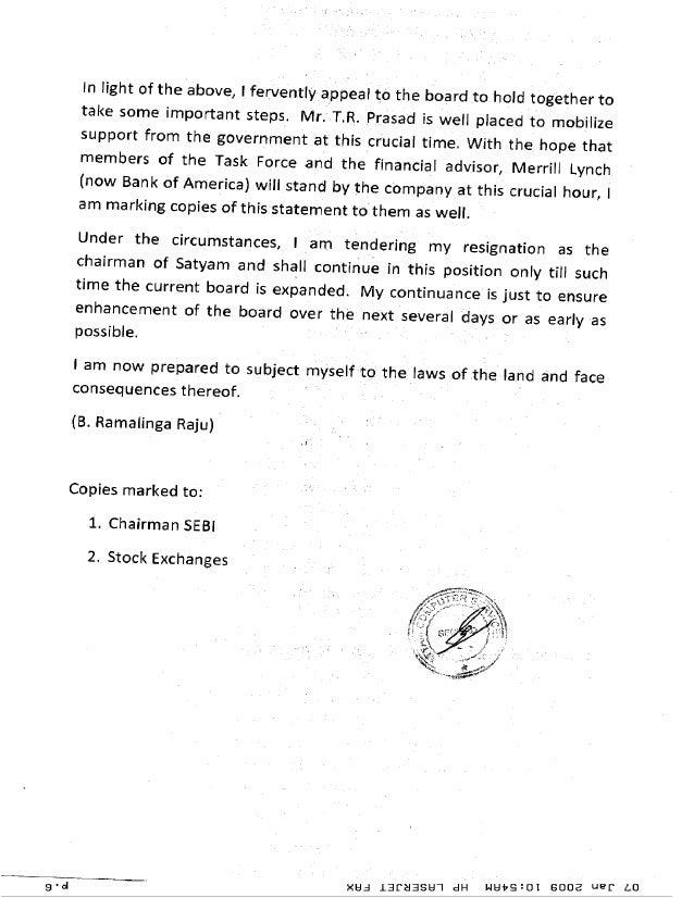 Satyam chairmans confession letter – Ramalinga Raju Resignation Letter
