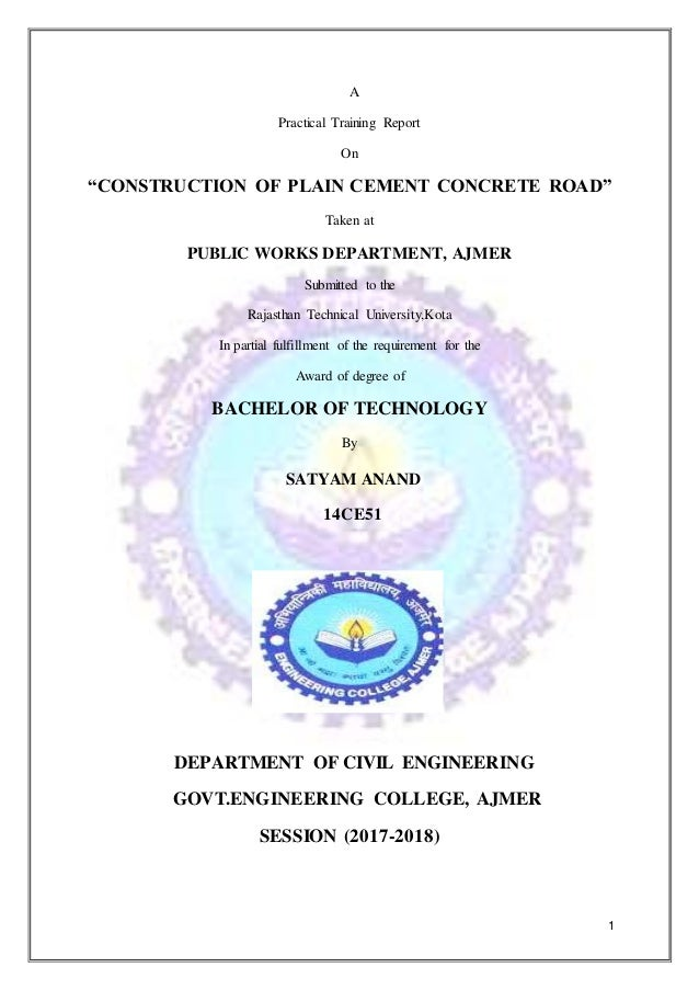 PWD CC ROAD CONSTRUCTION WORK TRAINING REPORT