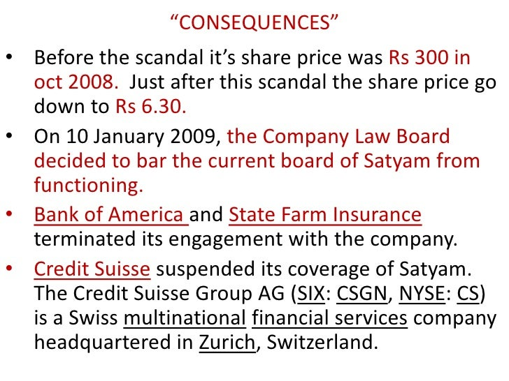 scam of satyam This was perhaps india's biggest corporate fraud case where m/s satyam computer services limited (m/s scsl) caused loss to the investors to the tune of rs14,162 crore.
