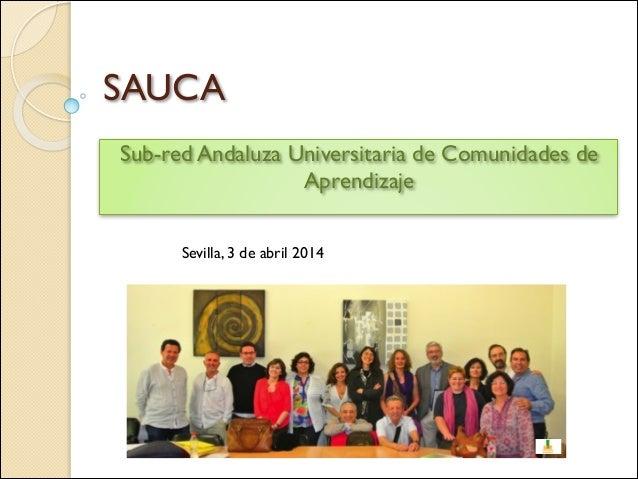 SAUCA Sub-red Andaluza Universitaria de Comunidades de Aprendizaje Sevilla, 3 de abril 2014