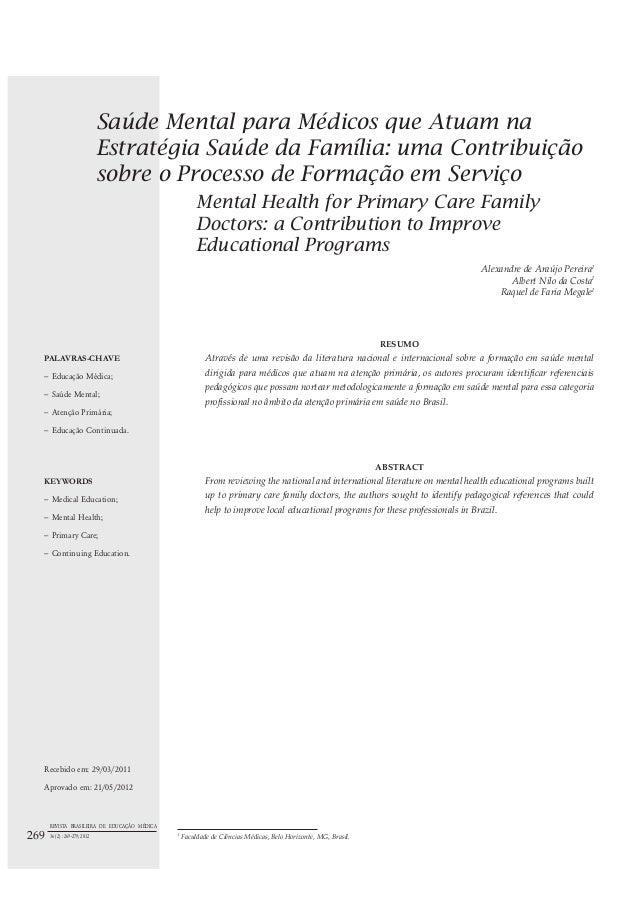 Saúde Mental para Médicos que Atuam na Estratégia Saúde da Família: uma Contribuição sobre o Processo de Formação em Servi...