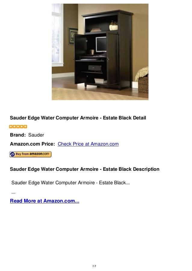 Sauder Edge Water Computer Armoire   Estate Black DetailSauder Edge Water  Computer Armoire   Estate Black