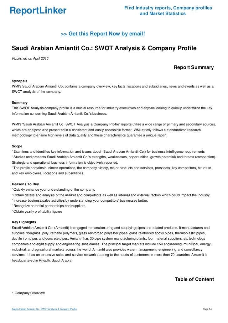 Saudi Arabian Amiantit Co : SWOT Analysis & Company Profile