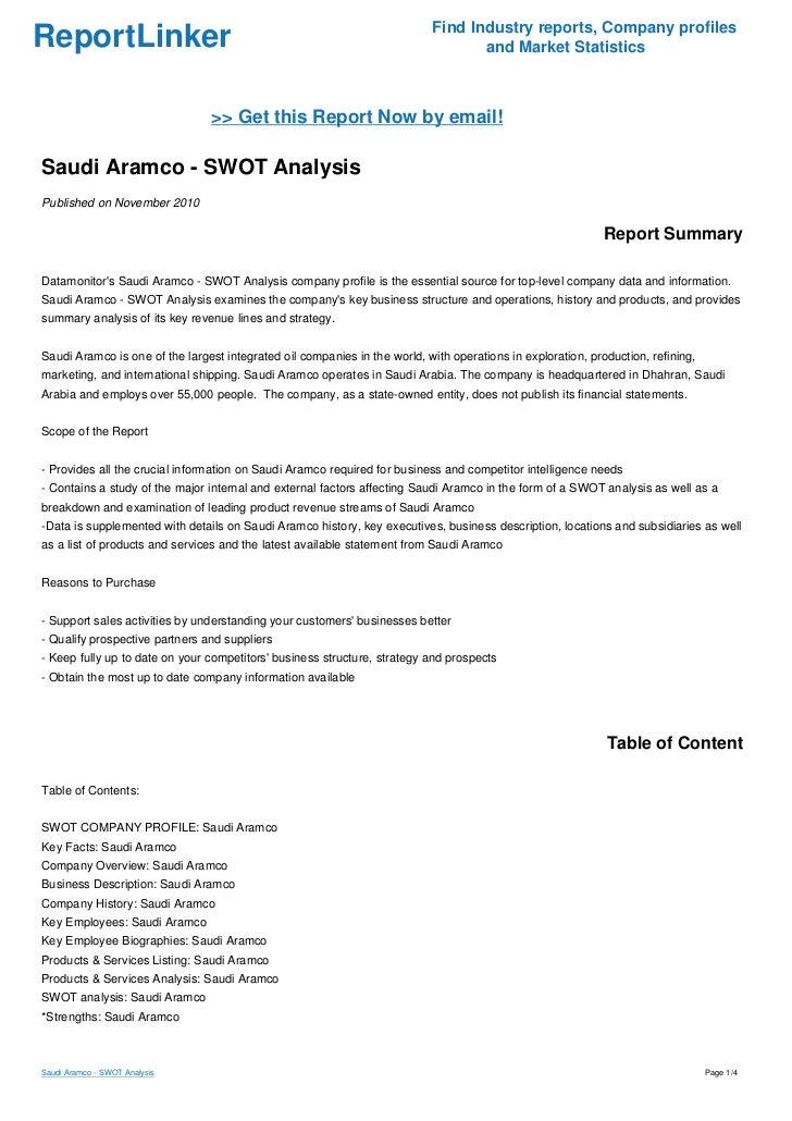 Saudi Aramco - SWOT Analysis