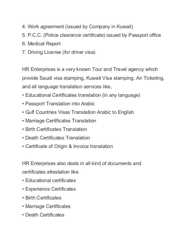 Hr Enterprises Travels Agency- Saudi Arabia And Kuwait Visa Stamping …