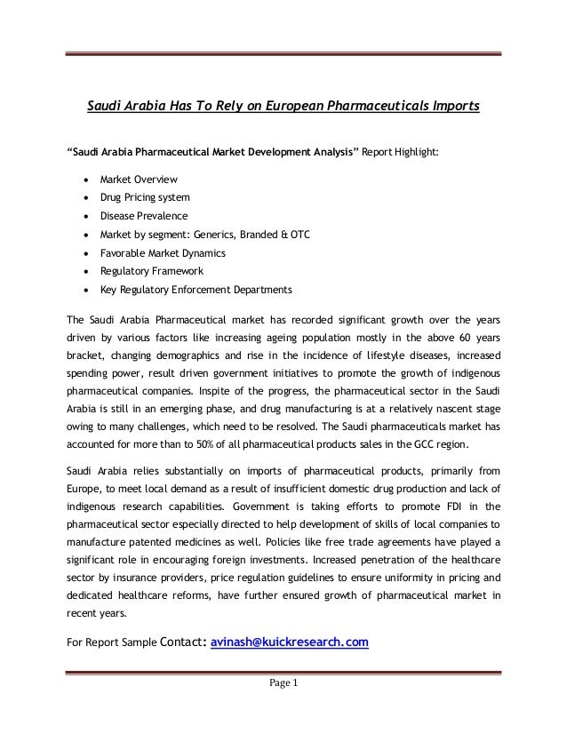 "Page 1 Saudi Arabia Has To Rely on European Pharmaceuticals Imports ""Saudi Arabia Pharmaceutical Market Development Analys..."