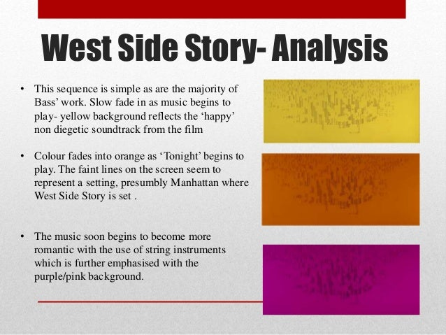 musical analysis of tonight from west side story Analysis of west side story west side story came out in 1961 as a melodramatic musical that took place in new york.