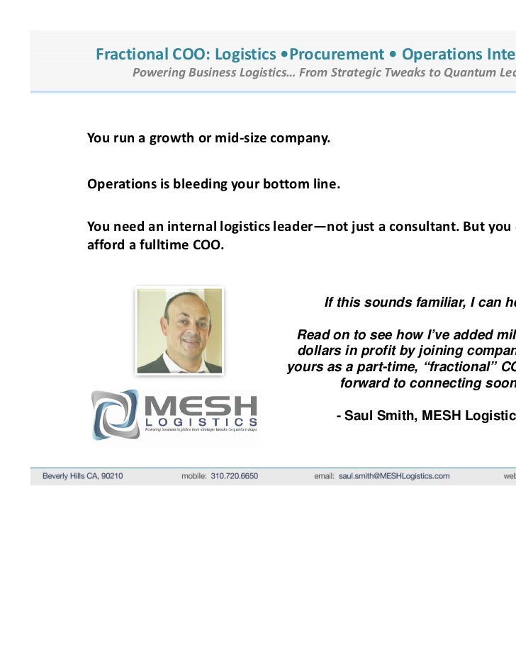 Fractional COO: Logistics •Procurement • Operations Intelligence       Powering Business Logistics… From Strategic Tweaks ...