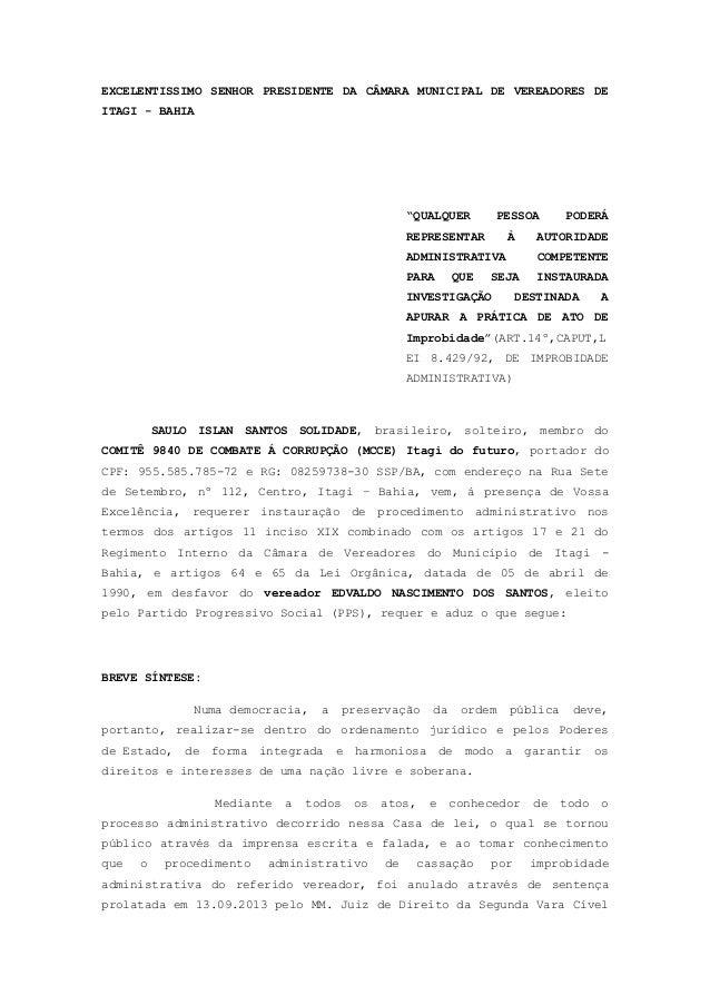 """EXCELENTISSIMO SENHOR PRESIDENTE DA CÂMARA MUNICIPAL DE VEREADORES DE ITAGI - BAHIA """"QUALQUER PESSOA PODERÁ REPRESENTAR À ..."""