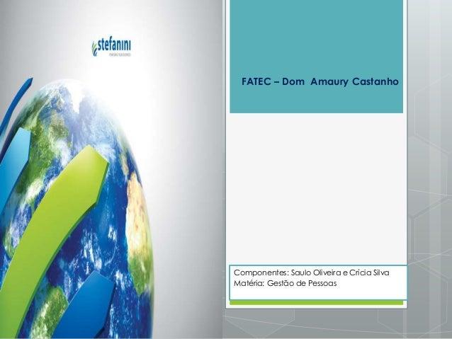 Componentes: Saulo Oliveira e Crícia Silva Matéria: Gestão de Pessoas FATEC – Dom Amaury Castanho