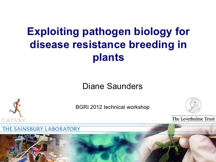 Exploiting pathogen biology fordisease resistance breeding in             plants           Diane Saunders         BGRI 201...