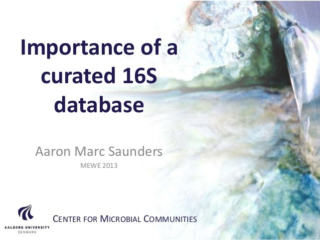 CENTER FOR MICROBIAL COMMUNITIES | AALBORG UNIVERSITY Importance of a curated 16S database Aaron Marc Saunders MEWE 2013 C...