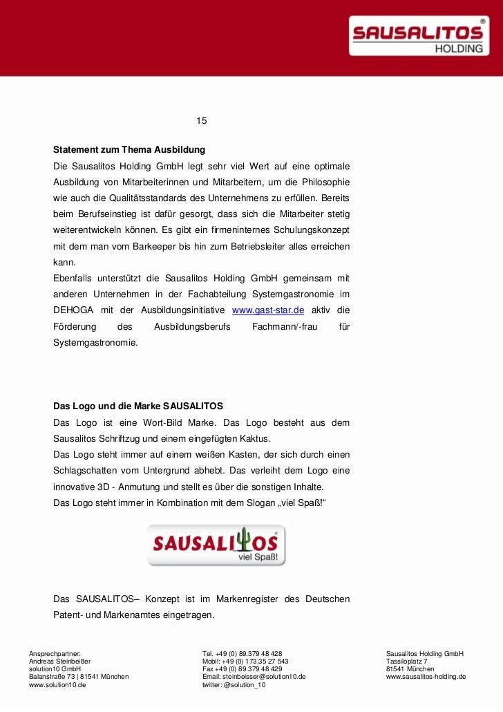 Sausalitos Holding GmbH - Unternehmensmappe 2012