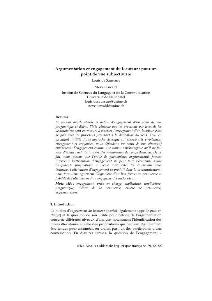 Argumentation et engagement du locuteur : pour un              point de vue subjectiviste                            Louis...