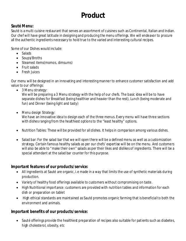 Saute, an Organic Restaurant - Business Plan