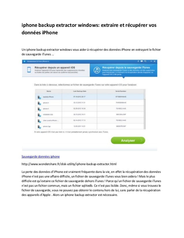 iphone backup extractor windows: extraire et récupérer vosdonnées iPhoneUn iphone backup extractor windows vous aider à ré...