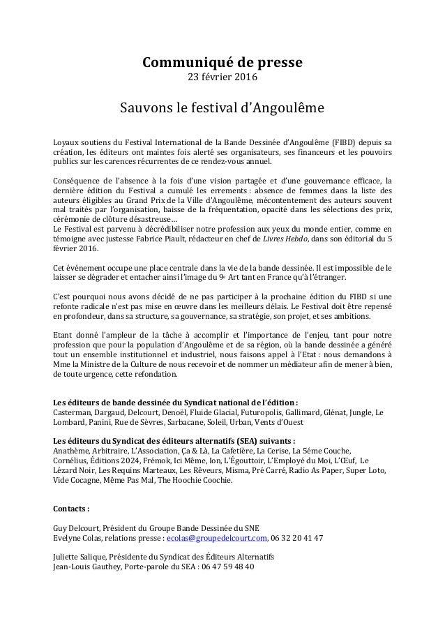 Communiqué  de  presse   23  février  2016      Sauvons  le  festival  d'Angoulême         Loyau...