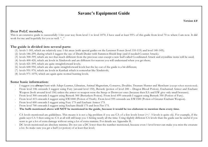Savanc's Equipment Guide                                                                                                  ...
