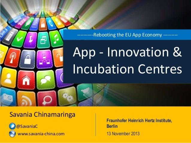 ----------Rebooting the EU App Economy ---------  App - Innovation & Incubation Centres Savania Chinamaringa @SavaniaC www...
