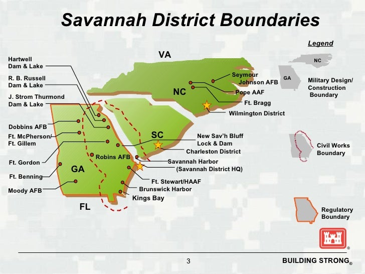 Corps Of Engineers Savannah District - Us corps of engineers district map