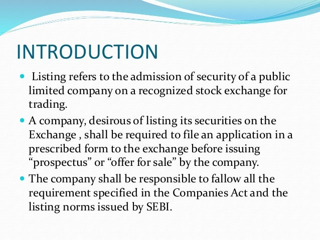listing of securities in Indian Stock Market Nse and Bse