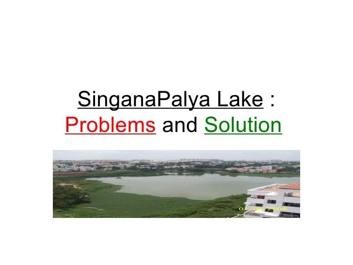 SinganaPalya Lake  :  Problems  and  Solution