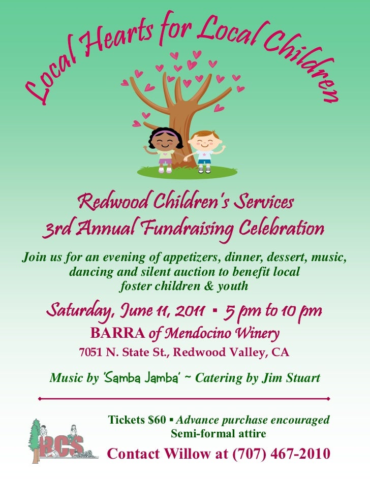 Redwood Children's Services    3rd Annual Fundraising CelebrationJoin us for an evening of appetizers, dinner, dessert, mu...