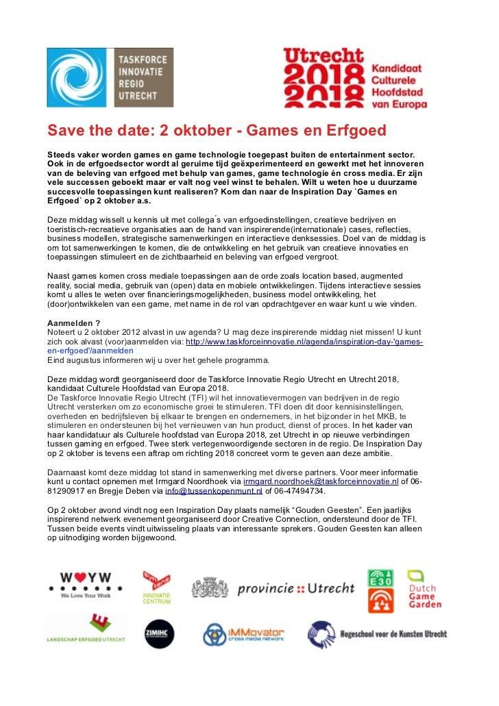 Save the date: 2 oktober - Games en ErfgoedSteeds vaker worden games en game technologie toegepast buiten de entertainment...