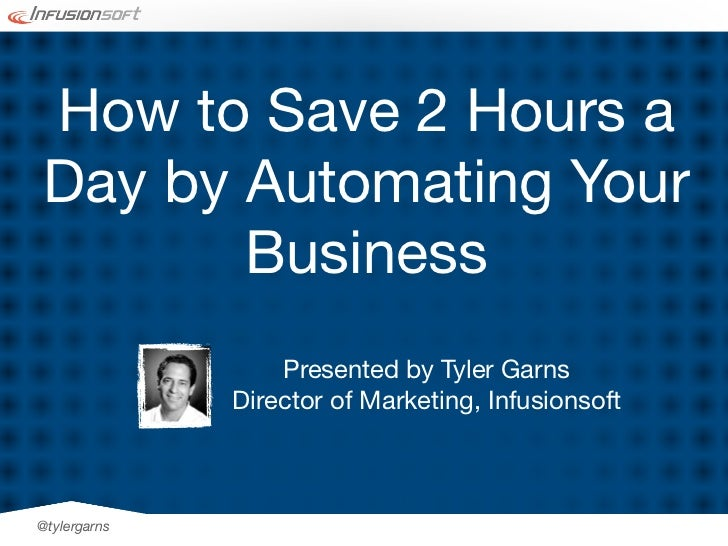 How to Save 2 Hours aDay by Automating Your       Business                  Presented by Tyler Garns              Director...