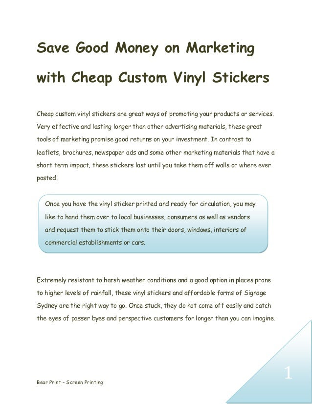 Save Good Money On Marketing With Cheap Custom Vinyl Stickers - Cheap custom vinyl stickers