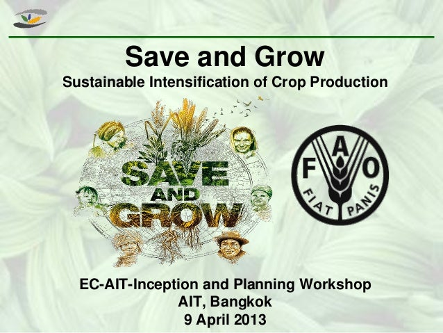 Save and Grow Sustainable Intensification of Crop Production EC-AIT-Inception and Planning Workshop AIT, Bangkok 9 April 2...
