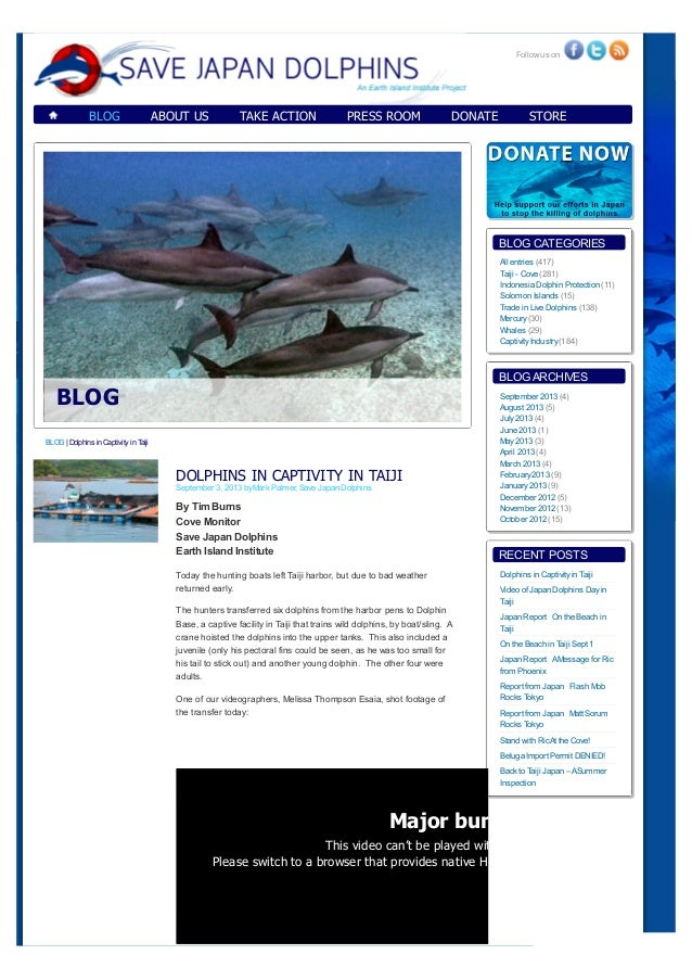 BLOG ABOUT US TAKE ACTION PRESS ROOM DONATE STORE DOLPHINS IN CAPTIVITY IN TAIJI September 3, 2013 byMark Palmer, Save Jap...