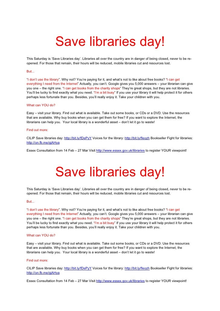 Save libraries day!This Saturday is 'Save Libraries day'. Libraries all over the country are in danger of being closed, ne...