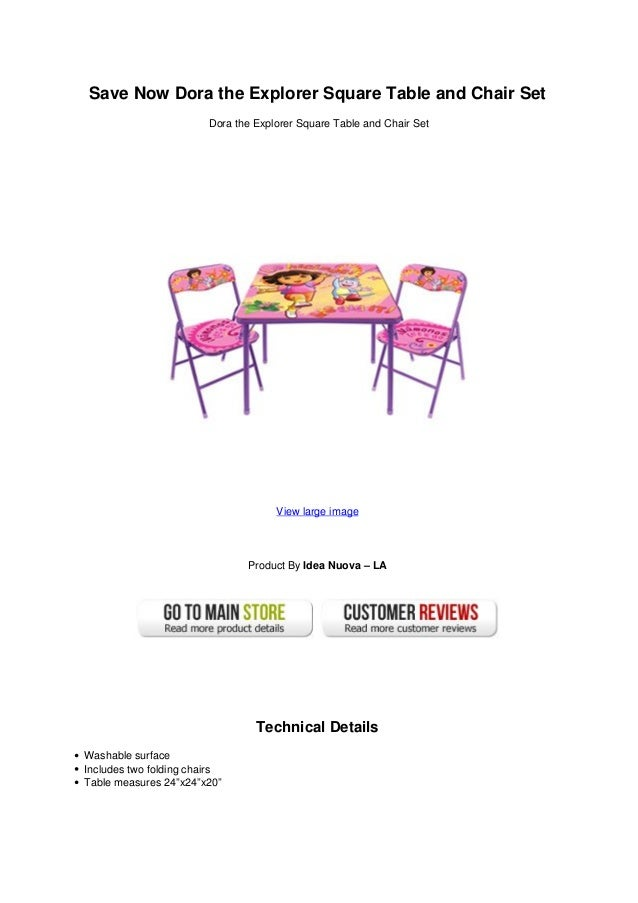 Save now dora the explorer square table and chair set