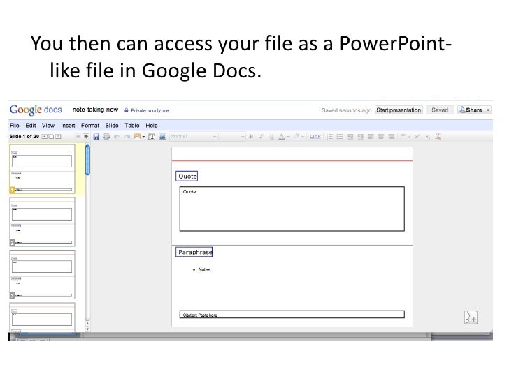 save powerpoint to google docs