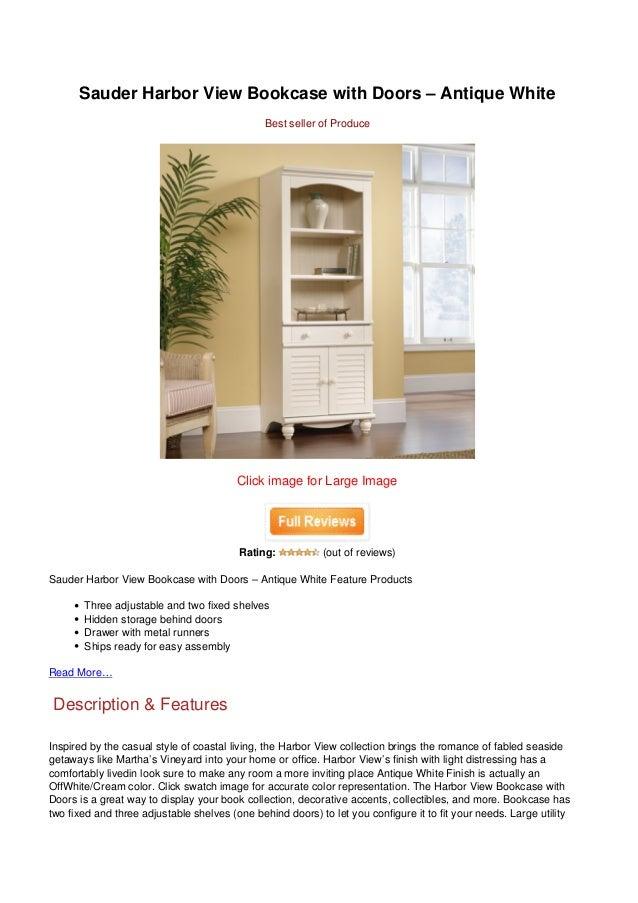 Sauder Harbor View Bookcase With Doors – Antique White