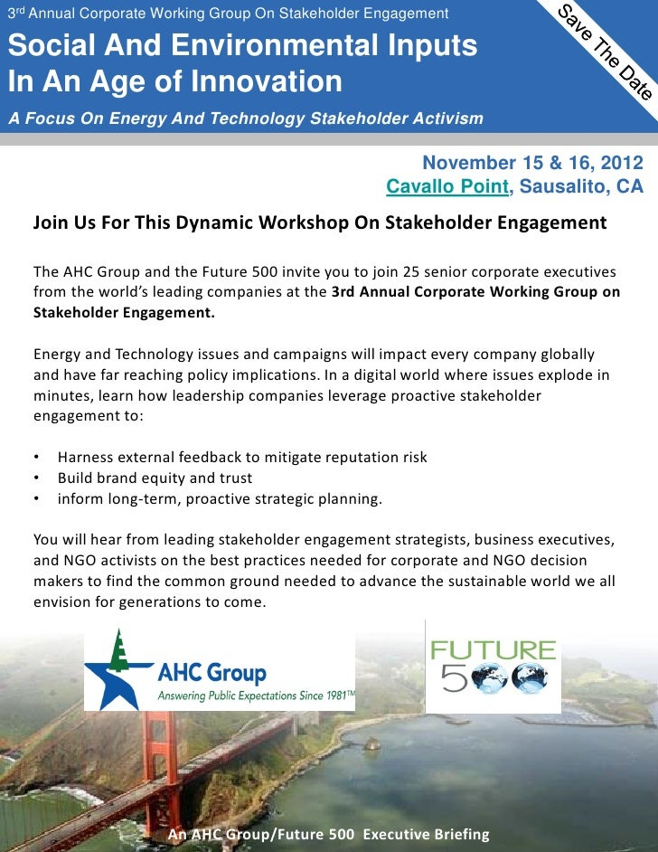 3rd Annual Corporate Working Group On Stakeholder EngagementSocial And Environmental InputsIn An Age of InnovationA Focus ...