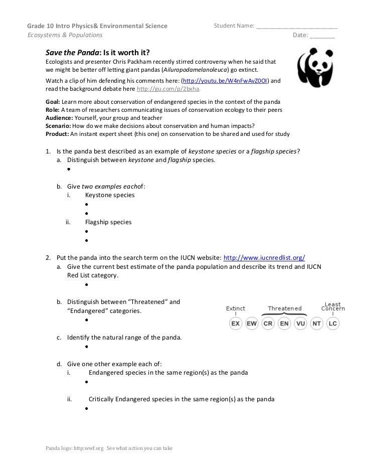 Grade 10 Intro Physics& Environmental Science                       Student Name: _________________________Ecosystems & Po...