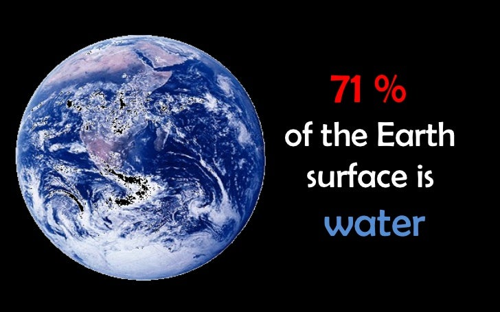 71 %of the Earth surface is  water